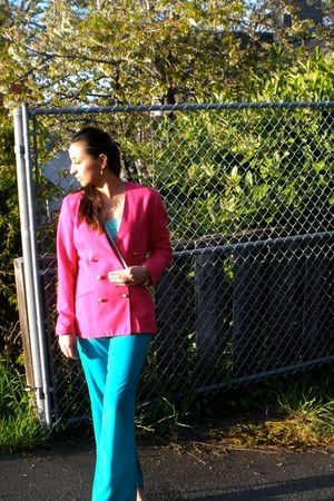 hot pink bright blazer - turquoise blue elegant Forever 21 pants