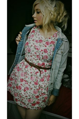 floral Internacionale dress - denim Topshop jacket - leather Dorothy Perkins bel