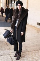 shawl collar coat - bootie Isabel Marant boots - slouchy beanie hat