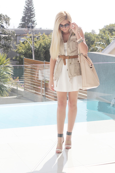 tan Woolworths heels - white asos dress - nude studded Zara bag