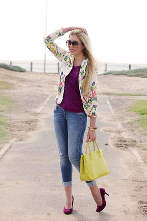 neutral floral Zara blazer