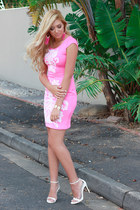 hot pink Legit dress - white Zara sandals