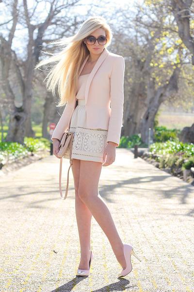 eggshell lace Chicwish skirt - neutral peplum Zara jacket