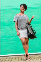 grey Primark t-shirt - bodycon Primark dress - black tote Zara bag