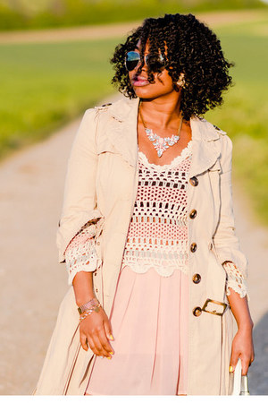 trench coat Primark jacket - mirrored Primark sunglasses - crochet next top