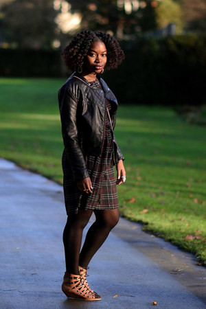 plaid Newlook dress - faux leather H&M jacket - tan asos wedges