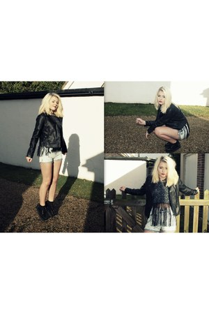 acid wash Missguided shorts - leather jacket Forever 21 jacket