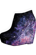 SH-013 2012 New Fashion Woman Galaxy Cosmic Space Print Hand-painted canvas Low