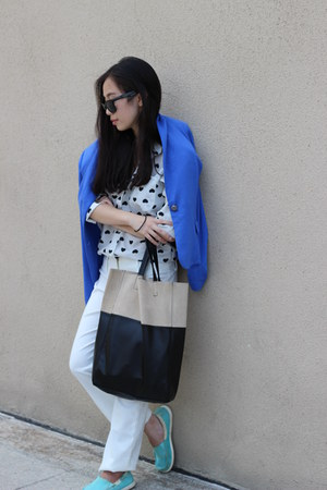 H&M bag - cotton on bag - Mango blazer - asos shirt - Crocs loafers