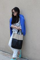 H&M bag - cotton on bag - Mango blazer - asos shirt - Crocs loafers