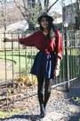 Black-shomint-shoes-charcoal-gray-fedora-h-m-hat-brick-red-silk-moms-shirt