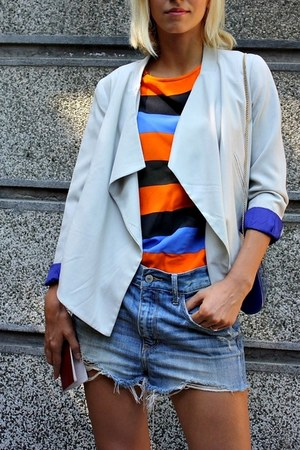 light blue blazer - violet ripped denim shorts - orange color block t-shirt