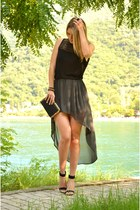black H&M top - black Stradivarius heels - charcoal gray asymmetrical Zara skirt