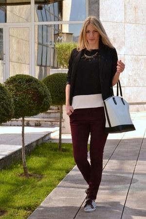 black Bershka blazer - New Yorker bag - Springfield necklace - Zara top