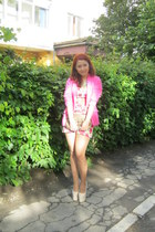 pink H&M blazer - golden H&M necklace - beige Doubt heels