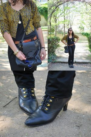 yellow vintage shirt - black Stradivarius pants - black Accessoire Diffusion sho