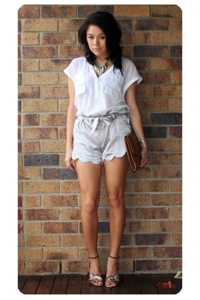 silver from vietnam shorts - white wish shirt - brown vintage - silver Forever21