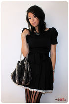 black asos dress - black H&M skirt - black Boutique in Hong Kong - Ebay tights -
