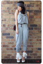 gray Witchery jumpsuit pants - brown vintage cartier - brown Sportsgirl leather 