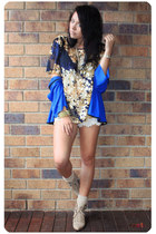 gold vintage blouse - blue vintage cardigan - cream shorts - cream modcloth sock