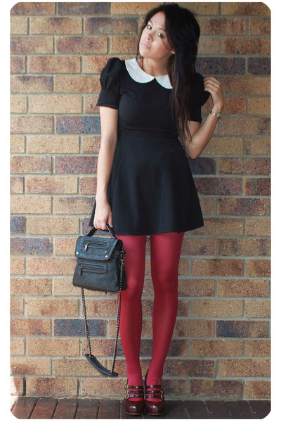 black Wayne Cooper bag - black asos dress - brick red tights