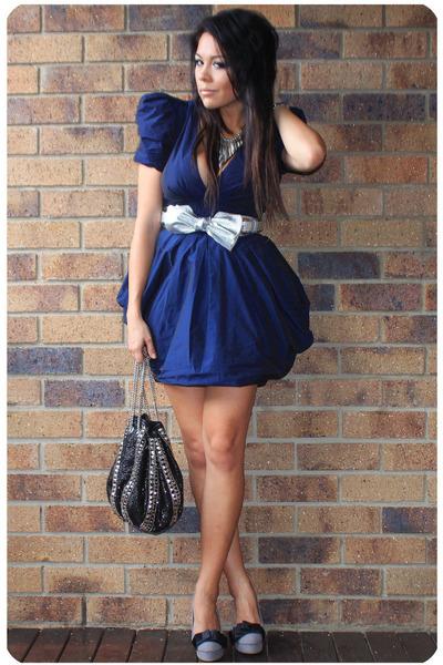 navy asos dress - black hong kong boutique bag - silver Ebay belt - silver Forev