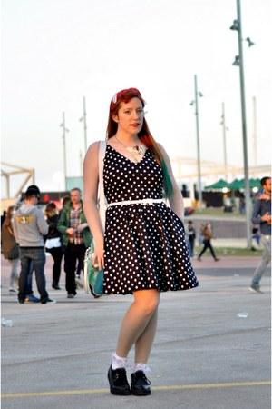 black polka dots MORGAN dress