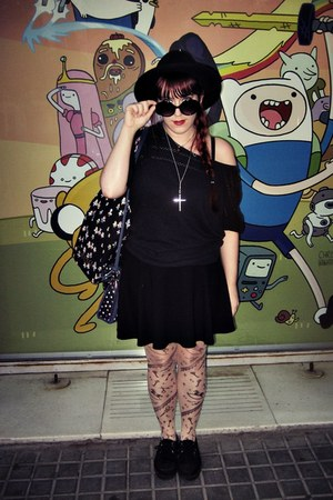 black cotton H&M hat - black creepers Primark flats