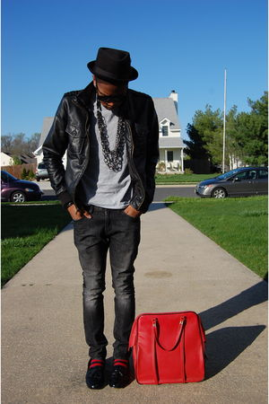 black Charles &amp; 12 jacket - silver Hanes t-shirt - gray Pac Sun jeans - red vint