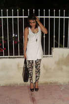 white Bershka top - xhilaration leggings - c&a shoes