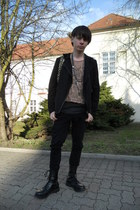 tan new look top - black Pure Trash boots - black Denim Co jeans