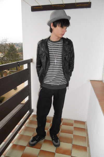 black TUK shoes - black thrifted jeans - silver H&M hat - black thrifted jacket
