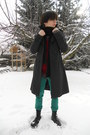 Black-invader-boots-gray-thrifted-coat-turquoise-blue-new-yorker-jeans