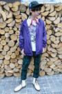 White-humanic-boots-black-etnies-hat-deep-purple-new-yorker-jacket
