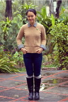 black boots - navy Forever21 jeans - beige J Crew sweater