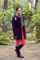 black Forever21 coat - salmon Wet Seal jeans - red Gap sweater