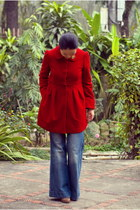 ruby red Forever21 coat - blue jeans - brown Payless heels