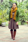 Brown-aldo-boots-dark-khaki-modcloth-dress-mustard-forever-21-scarf
