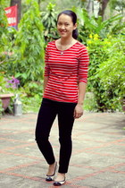 ruby red striped Forever21 shirt - black thritfted pants - white Payless flats