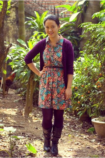 floral Forever21 dress - black Journee boots - deep purple Target cardigan