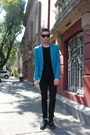 Black-zara-shoes-turquoise-blue-zara-blazer