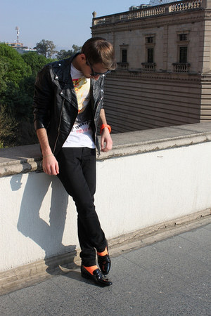 orange American Apparel socks - black Zara jacket - carrot orange Swatch watch