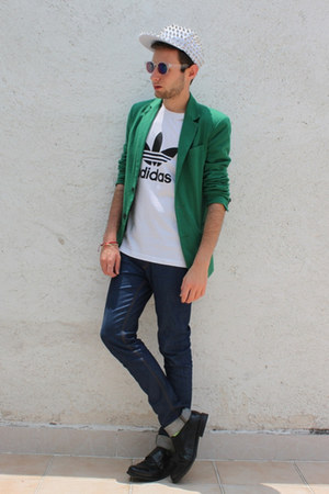 white Love Actually hat - green Zara blazer - white Adidas Originals shirt