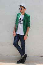 green Zara blazer - white Love Actually hat - white Adidas Originals shirt