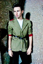 forest green Paul Frank blazer - dark brown Zara belt
