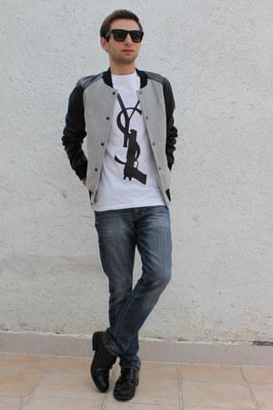 silver Zara jacket - navy Gap jeans - white THE FAG t-shirt