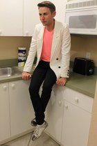white Zara shoes - white Mango blazer - salmon American Eagle shirt