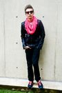 Pink-american-apparel-scarf-black-nike-shoes