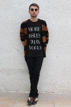 black THE FAG shirt - black Vans shoes - tawny Zara sweater
