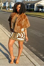 cotton vintage dress - leather Michael Kors shoes - fur vintage cape